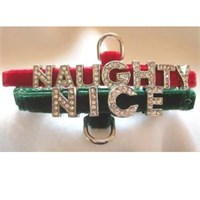Rhinestone Dog Collars - Naughty or Nice (Medium/Large)