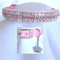 Dog Suppliesapparelcollars Leashes & Harnessesrhinestone Dog Collars Princess In Pink Velvet