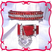 Rhinestone Dog Collars - Red Velvet & Diamonds # 304 (XSmall)