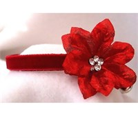 Rhinestone Dog Collars - Red Velvet Poinsettia (Medium)