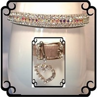 Rhinestone Dog Collars - Silver Velvet Sparkle # 293 (Medium)
