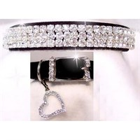 Rhinestone Dog Collars - Sweetheart in Black Velvet # 191 (XSmall)