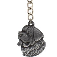 "Dog Breed Keychain USA Pewter - Saint Bernard (2.5"")"