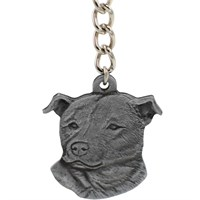 "Dog Breed Keychain USA Pewter - Staffordshire Bull Terrier (2.5"")"