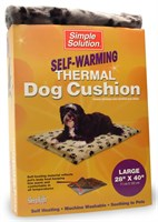 Self-warming Thermal Dog Cushion (large) Gray With Black Paw Prints