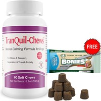 TranQuil-Chews for Dogs (60 Soft Chews) + FREE BONIES Skin & Coat Health Multi-Pack MEDIUM (8 Bones)