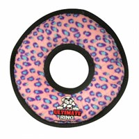 tuffyringpink Tuffys Ultimate Ring Pink Leopard Dog Toy