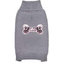 Zack & Zoey Elements Sequin Bone Sweater - Silver (Large)