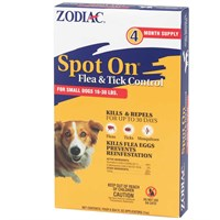 Zodiac Spot On Flea & Tick Control for Small Dogs 16-30 lbs (4 pack)