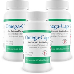 3 Pack Omega-Caps - For CATS & SMALL Dogs (180 Softgel Capsules)