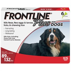 6 MONTH Frontline PLUS Red for Dogs 89-132 lbs