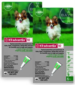 12 MONTH K 9 ADVANTIX Green for dogs up to 10lbs