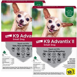 12 MONTH K9 ADVANTIX II GREEN Small Dog for dogs under 10 lbs