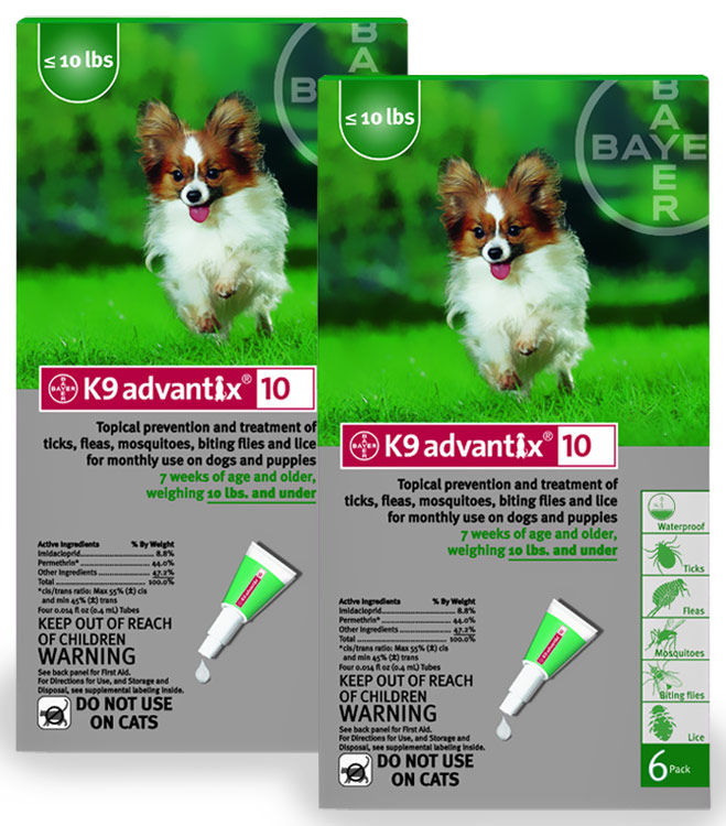 12 MONTH K 9 ADVANTIX Green (for dogs up to 10lbs.)