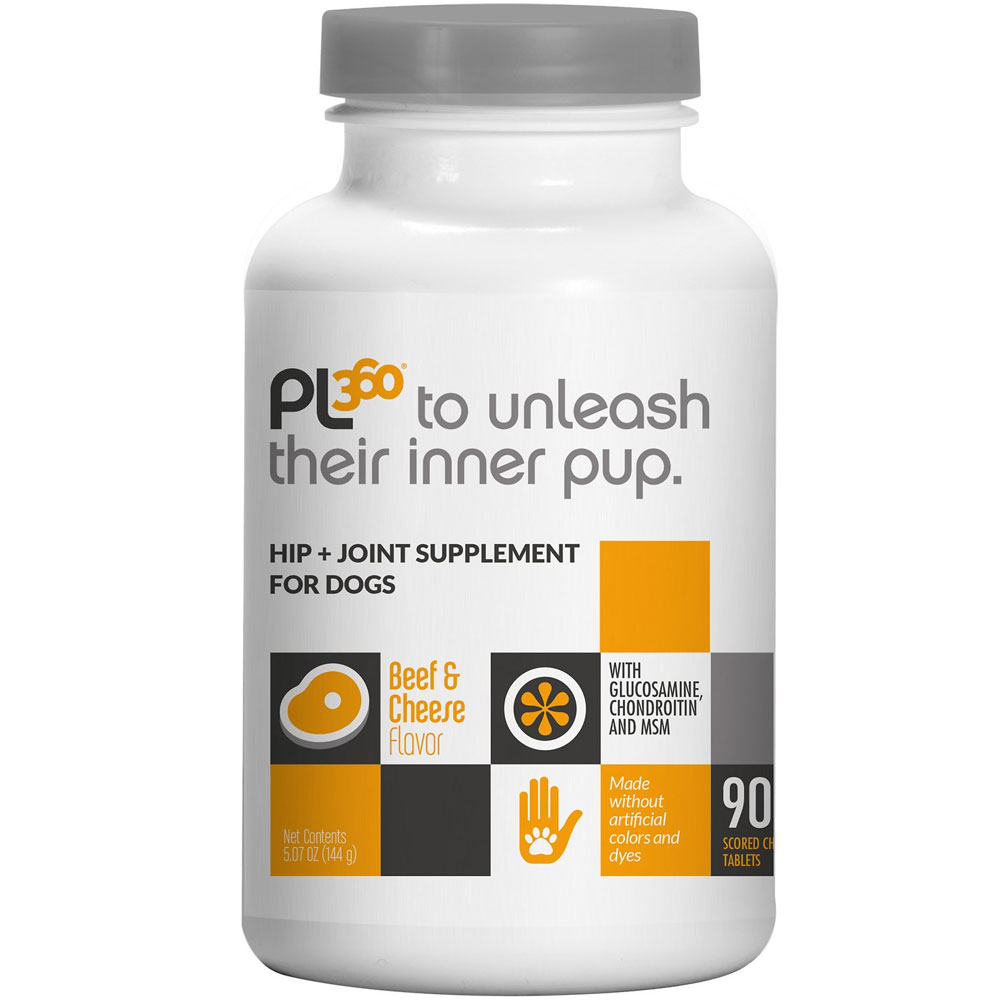 PL360 Arthogen Advanced Hip & Joint Formula for Dogs - Beef & Cheese Flavor (90 Chewable Tablets)