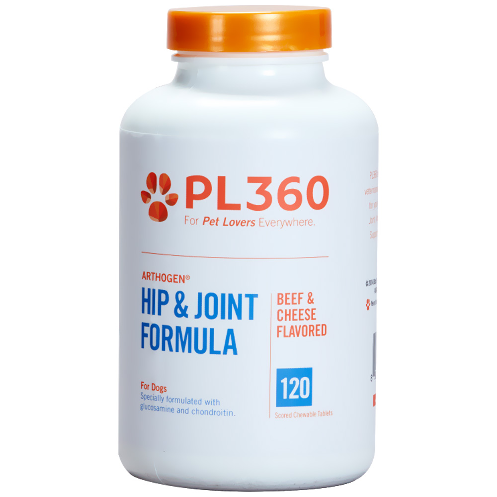 PL360 Arthogen Hip & Joint Formula for Dogs - Beef & Cheese Flavor (120 Chewable Tablets)