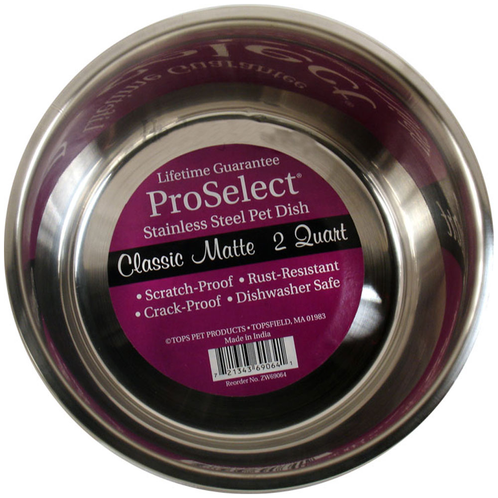 "ProSelect Stainless Steel Pet Dish Classic Matte (2 Qt Width=8"")"