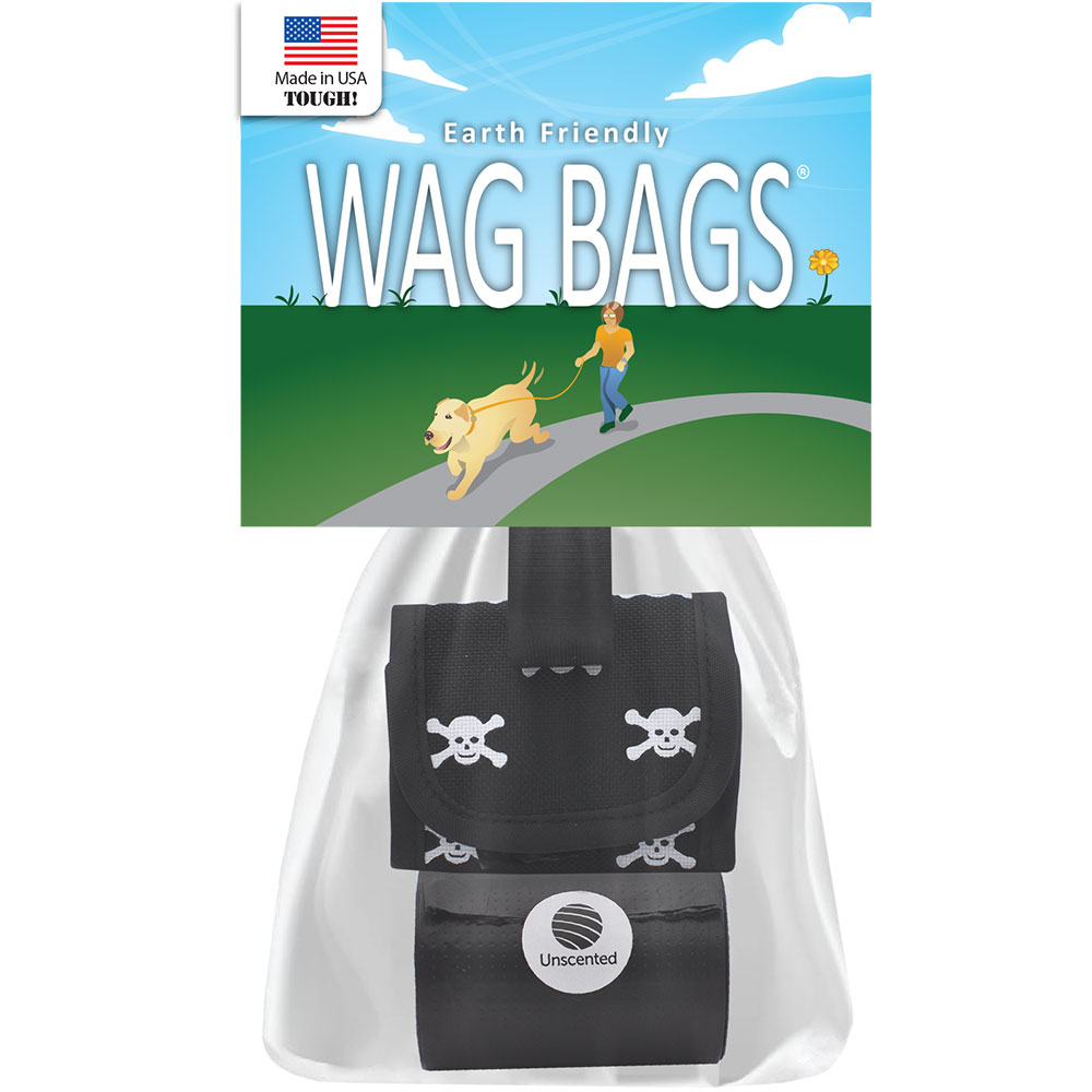 Wag Bags Dispenser Skull &amp; Cross Bones BLACK (30 Bags)