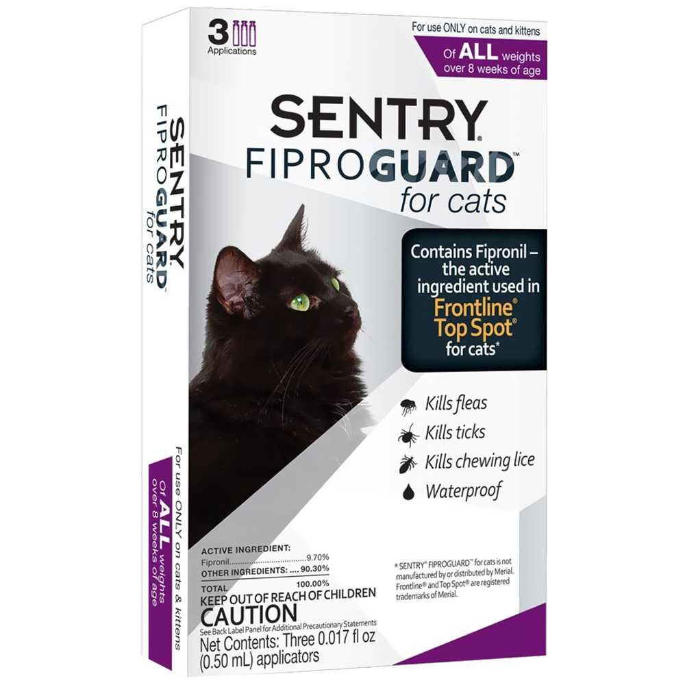 Fiproguard Flea &amp; Tick Squeeze-On for Cats, 3-PACK