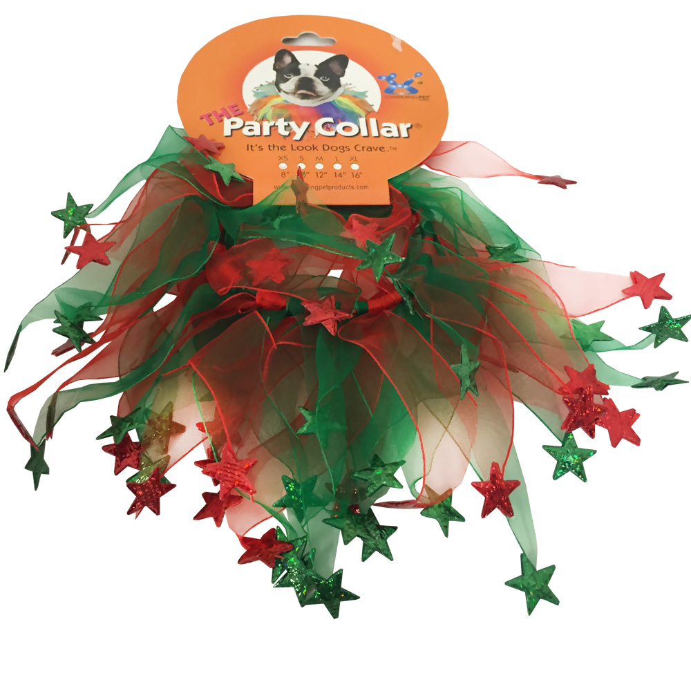 Holiday Party Collar - Xmas Red &amp; Green Stars - Large (14&quot;)