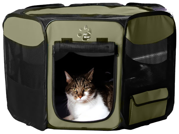 "Pet Gear Octagon Pet Pen With Removable Top 36"" - Sage"