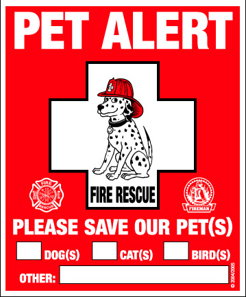 Pet Alert - 2 Decal Window Clings