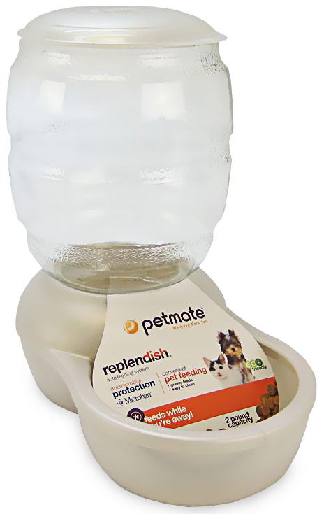 Petmate Replendish Feeder with Microban (2 lb) -Pearl White