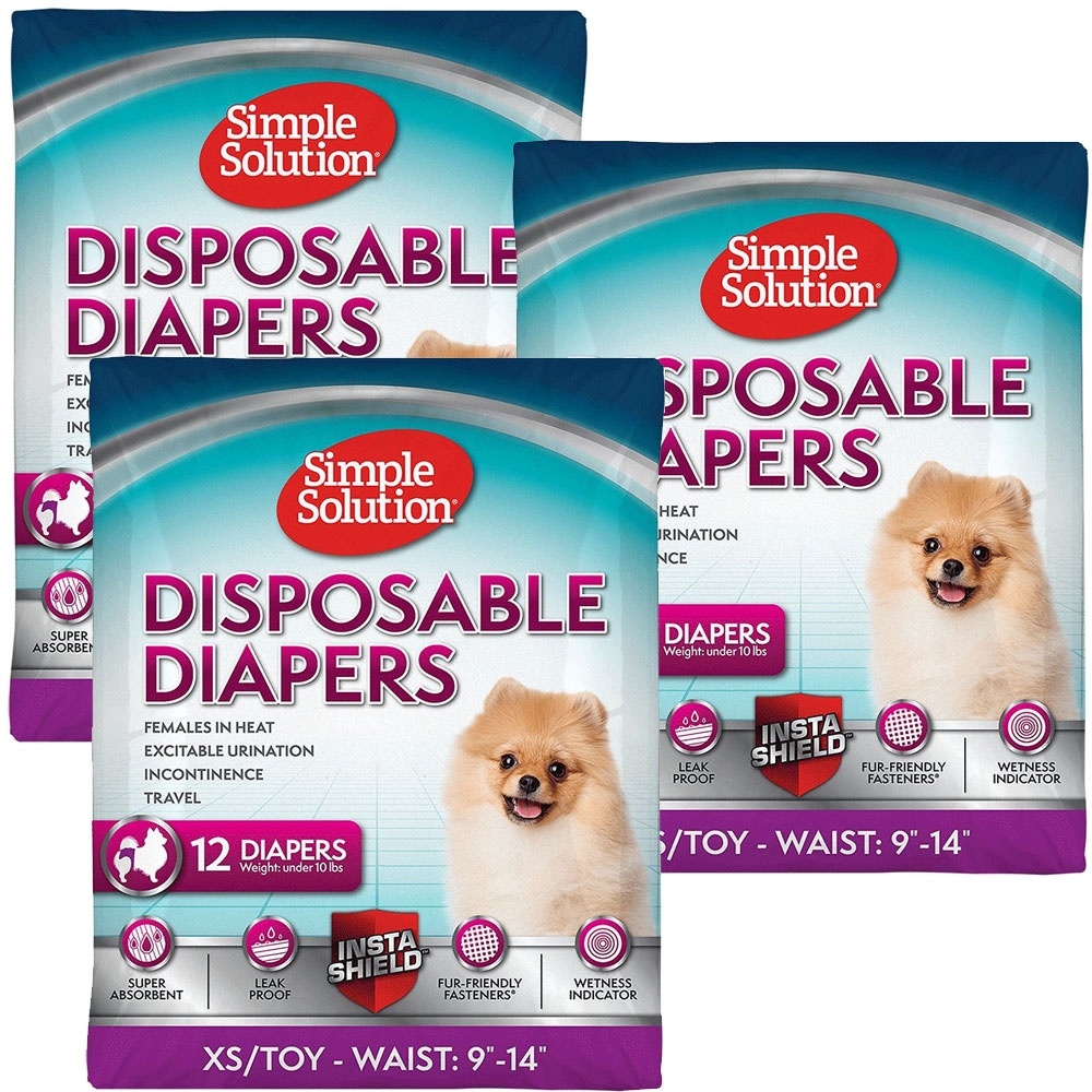 3 PACK Simple Solution Diapers XS (36 Diapers)