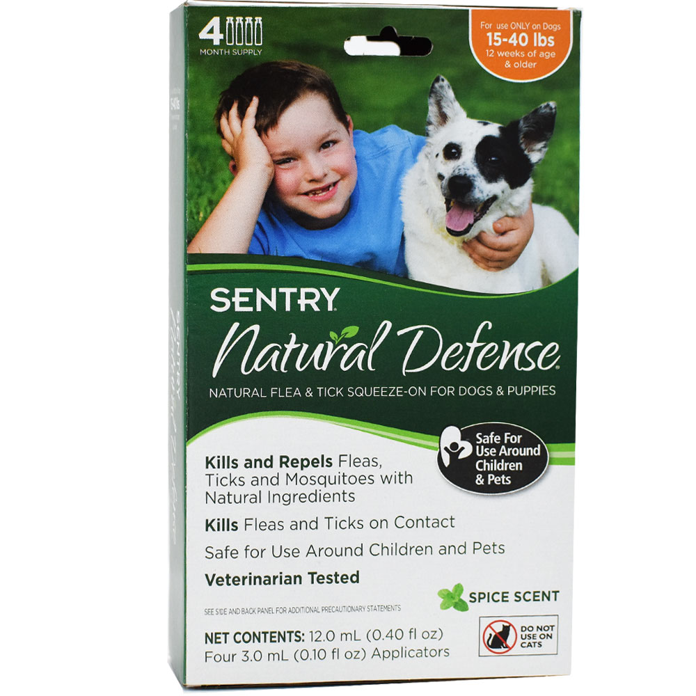 Sentry Natural Defense Flea & Tick Squeeze-On for Dogs 15-40 lbs (4 pack)
