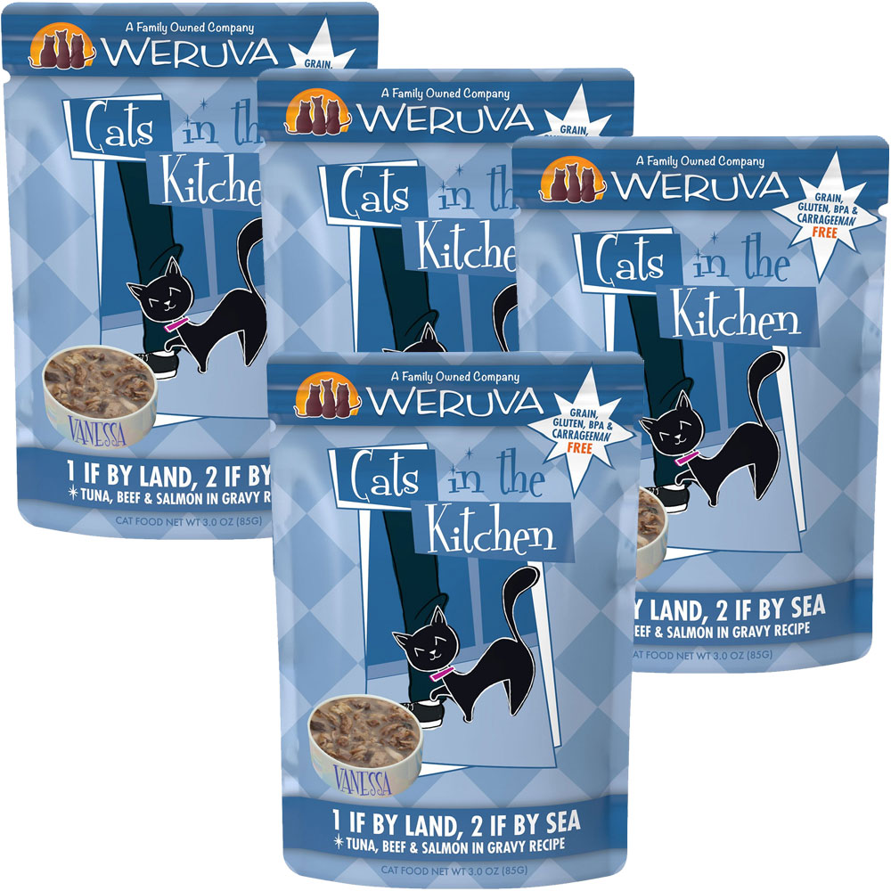 Weruva Cats in the Kitchen Pouch-1 If By Land 2 If By Sea 4-Pack (12 oz)
