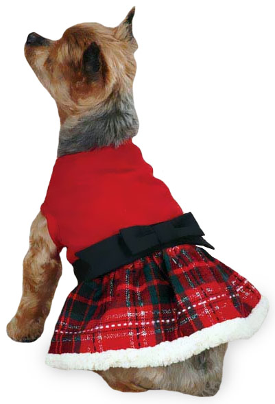East Side Collection Yuletide Tartan Party Dress XSmall Red