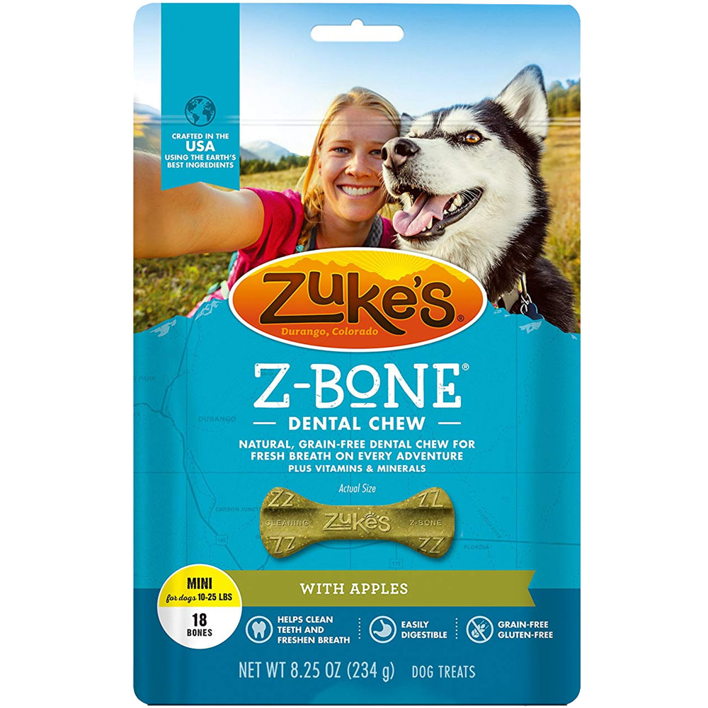 Zukes Z-Bones Edible Dental Chews Mini Clean Apple Crisp - 18 ct (9 oz)