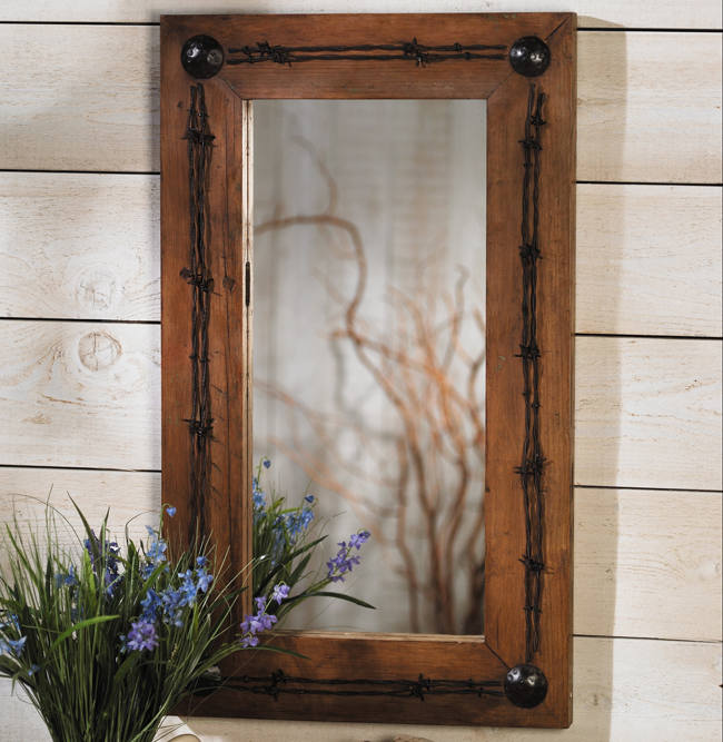 Lone Star Western Decor Old ranch barbed wire mirror