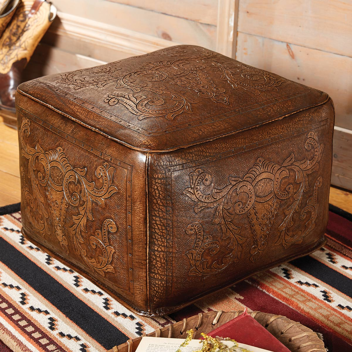 Antique brown large colonial tooled leather ottoman