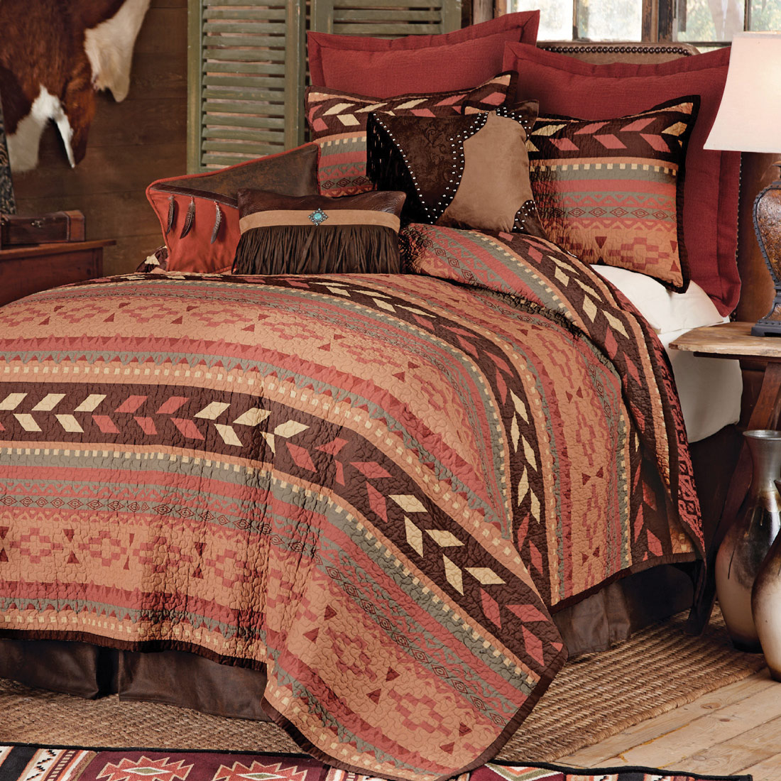 Lone Star Western Decor Broken arrow quilt bed set - king