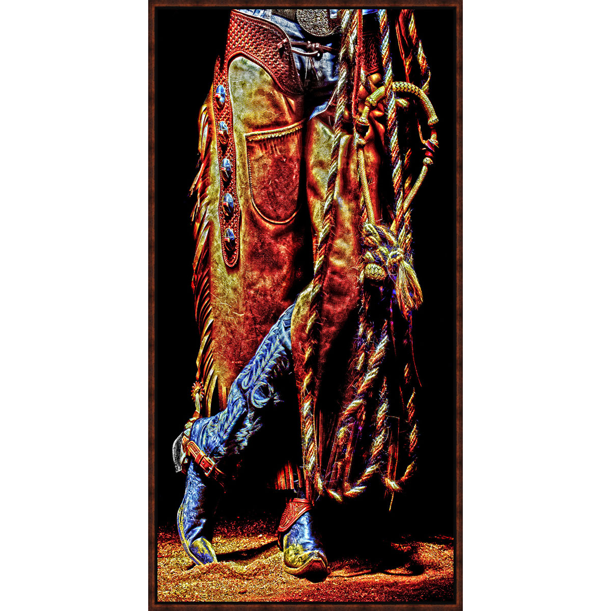 Lone Star Western Decor Chaps and blue boots framed canvas