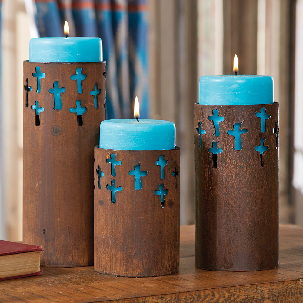 Lone Star Western Decor Rustic cross candle holders with turquoise candles (set of 3)