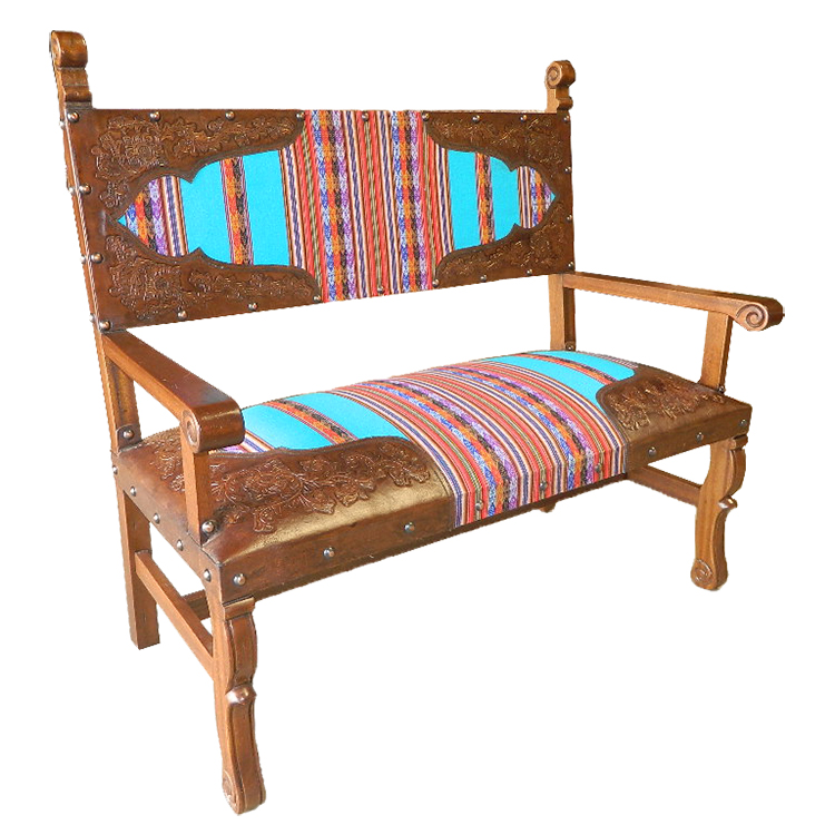 Lone Star Western Decor Spanish heritage bench with inka fabric