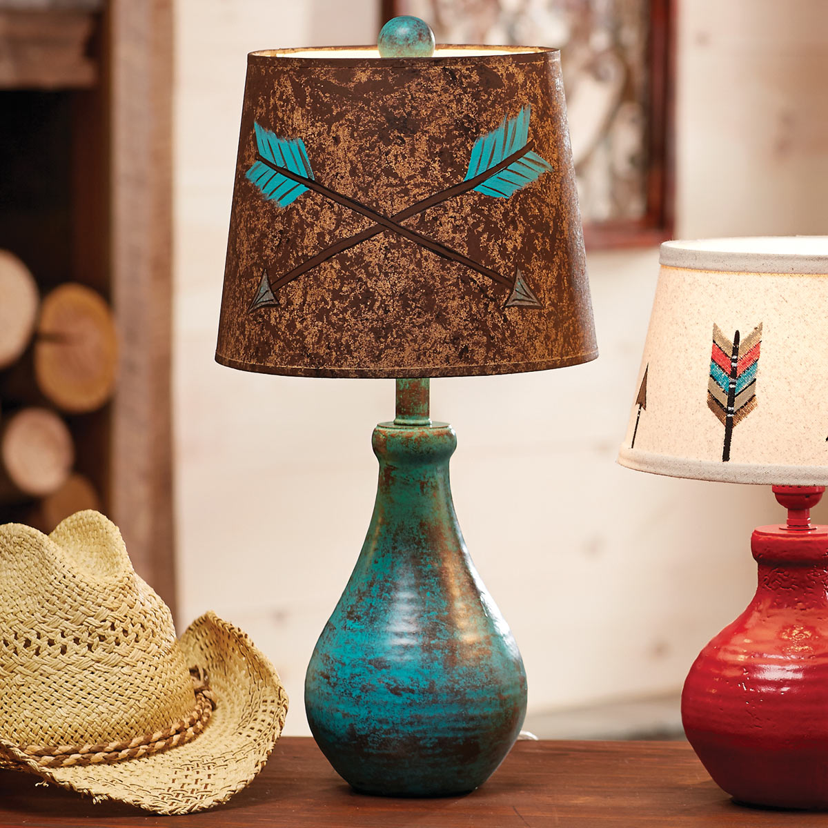 Lone Star Western Decor Turquoise crossed arrows table lamp