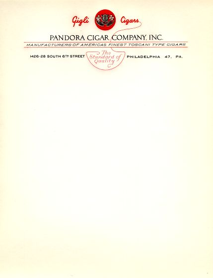 Buy cigar company gifts - Pandora Cigar Company Letterhead - Philadelphia, Pennsylvania - 1941
