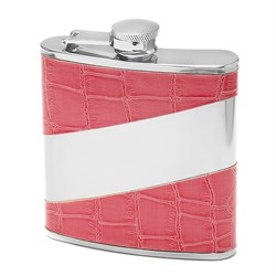 6 Ounce Pink Crocodile Pattern Personalized Flask