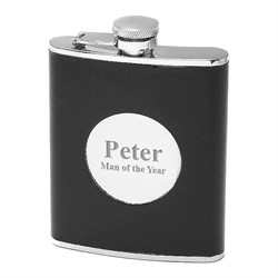 6 ounce Black Leather Personalized Flask