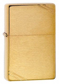 Vintage with Slashes Brushed Brass Zippo Lighter - ID# 240