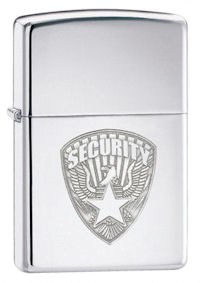 Security Badge High Polish Chrome Zippo Lighter - ID# 24703