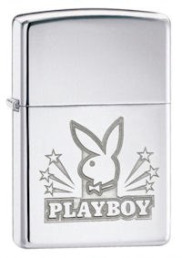 Playboy Bunny with Stars High Polish Chrome Zippo Lighter - ID# 24706