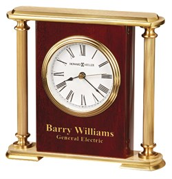 Personalized Rosewood Encore Bracket Table Clock by Howard Miller