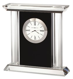 Colonnade Black Glass Carriage Clock by Howard Miller