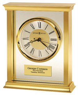 Personalized Monticello Brass Bracket Table Clock by Howard Miller