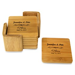 Anniversary Gift Square Bamboo Coaster Set