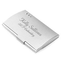 Silver Tone Business Card Holder with Three Dot Design